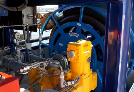 Custom designed high-flow marine fuel reels.