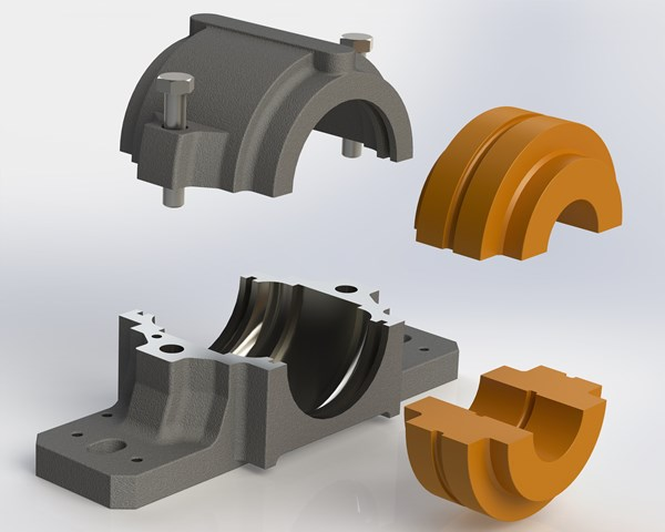 Split plummer block bearings from Cut To Size Plastics are particularly useful and time-saving in process, production and materials handling applications involving multiple shafts and bearings in line