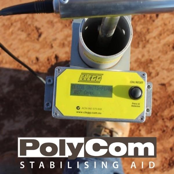 Clegg Hammer testing after application of PolyCom Stabilising Aid