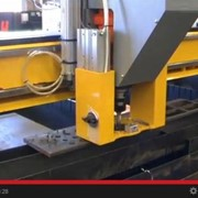 CNC plasma cutting machine drilling 22mm holes in 16mm steel plate
