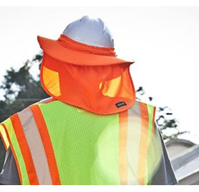 Protecting workers wearing hard hats from UV exposure