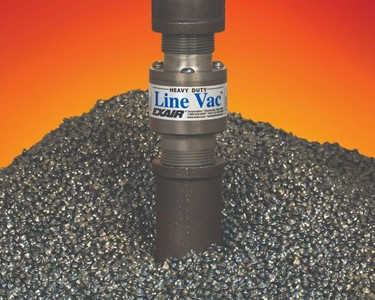 The hardened alloy construction of the Heavy Duty Threaded Line Vac resists wear when conveying abrasive steel shot.