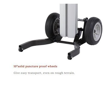 250mm puncture proof, light-weight wheels