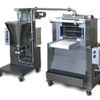 Industrial ravioli machine with automatic filling doser.