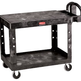Large 2 Tier Heavy Duty Utility Cart with Flat Shelf - Produced