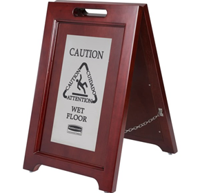 Rubbermaid Double Sided Wooden Stainless Steel Wet Floor Sign