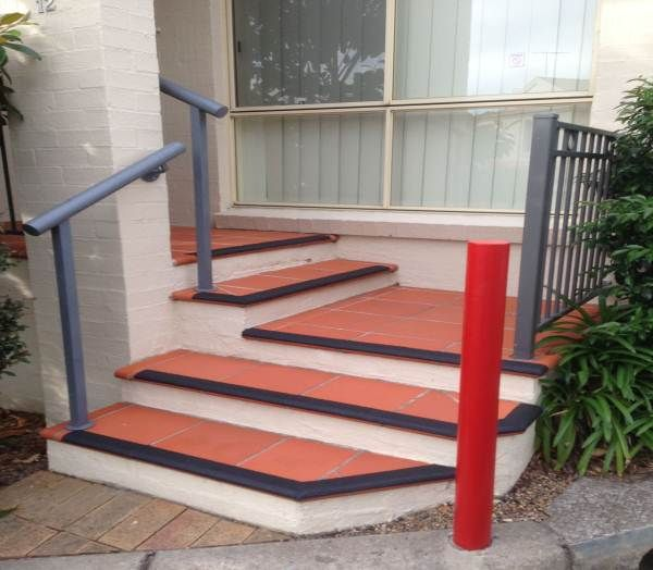 Micro etched tiles and anti slip stair nosing
