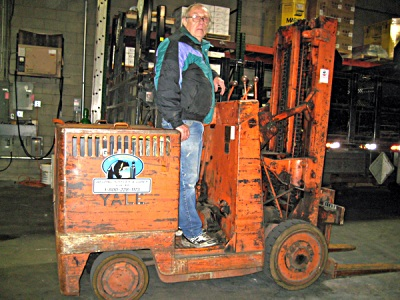 Manufactured in 1945, this Yale forklift is still operational today.