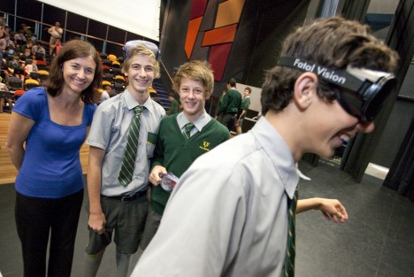 Teenagers saw the world through the wobbly lens of beer goggles as part of an interactive program called 'Game On: Know Alcohol'.
