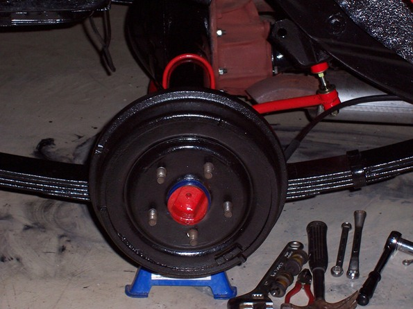 Drum brake and leaf springs painted