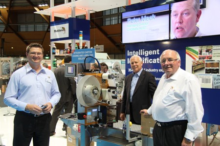 (L-R) Mark Dingley, Matthews' GM of Operations; Rick Fox, President and CEO of FOX IV Technologies Inc.; and Lester Nichol, Managing Director of Matthews, with the 1,000th FOX IV LPA that Matthews has sold in Australia.