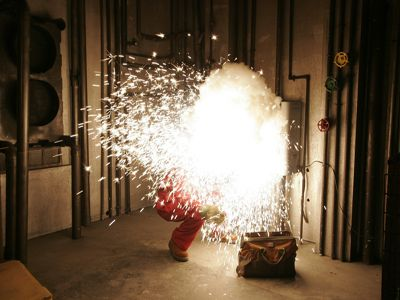 Arc flash is a sudden, explosive electrical arc that results from a short circuit through air.
