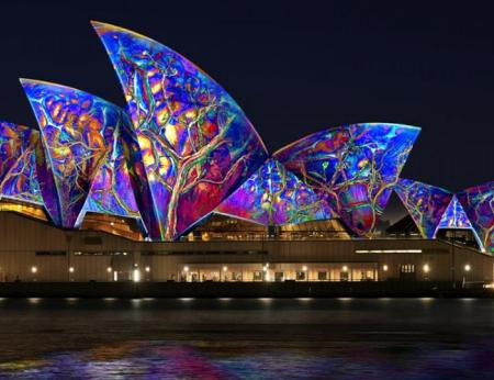 The Sydney Opera House lights up at Vivid Sydney.
