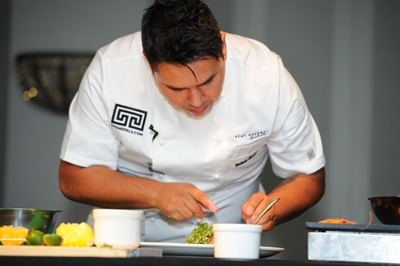 TFE Hotel's chef Nelson Burgos plating up.