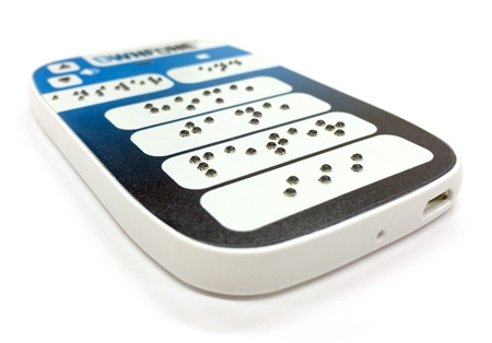 The braille buttons are customised to the customer's needs.