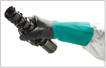 Ansell AlphaTec58-430 glove offers critical protection against chemicals found in oils.
