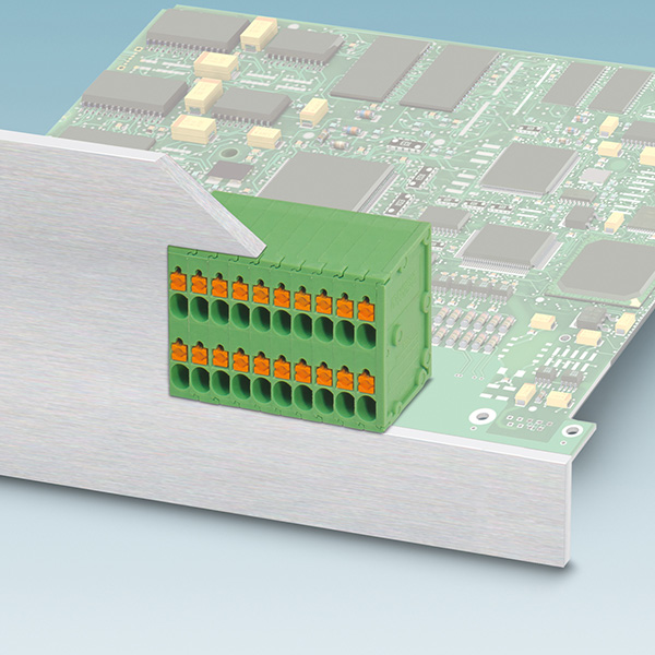 The new PCB terminal blocks in the SPTD 1,5 series from Phoenix Contact enable users to connect conductors with cross sections up to 1.5 mm² with ferrule in an easy and space-saving way on two levels.