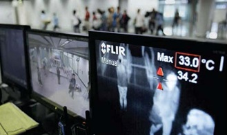 FLIR A320 Tempscreen installed at a major airport to detect people with elevated body temperatures.