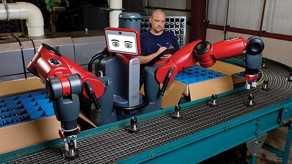 "Baxter is a two-armed robot with a tablet-like panel for its ""eyes"". (Image: Rethink Robotics, Inc.)"