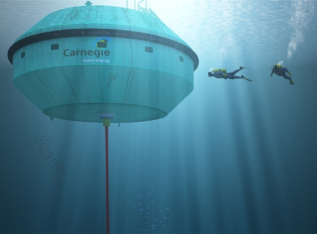 The CETO Unit - a fully submerged buoy tethered to a pump on the seabed. Image courtesy of AREA.