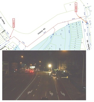 Location 1, junction of Lillyfield road and Victoria Road was on the 600mm TM where as Location 2 Robert St, was on a new Hydrant on a 300mm off take; the photo above is a view from the footbridge over Victoria Rd.