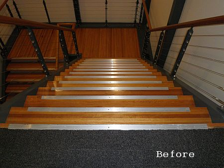 Wooden stairs with aluminium stair nosing