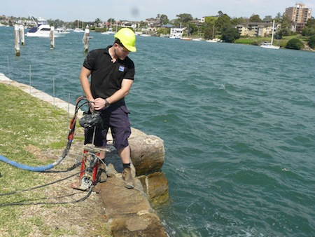 Drummoyne seawall being restored to integrity by the unique Uretek expanding resin injection.