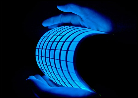 OLED lighting has potential for esoteric lighting that takes advantage of the fact it can be formed into flexible panels. Courtesy: General Electric
