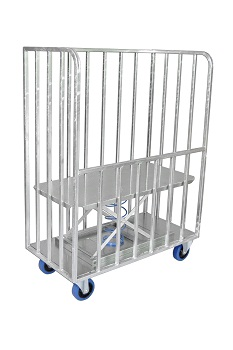 A bulk delivery trolley with a back-saving rising base.