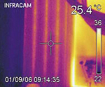The thermal image clearly shows where not to drill