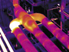 Thermal image shows refractory lining breakdown in an air line