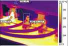 Thermal image reveals hot spot on low voltage transformer that requires urgent repair