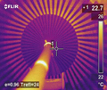 Thermal imaging proves integrity of stator core plates in a generator stator core flux test