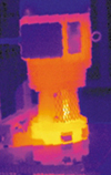 Thermal image reveals overheating bearing on a primary motor