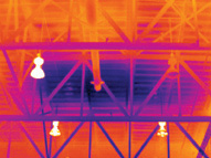 Image taken with FLIR thermal imager reveals moisture in roof