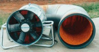 Purging fan with five metres of flexible ducting