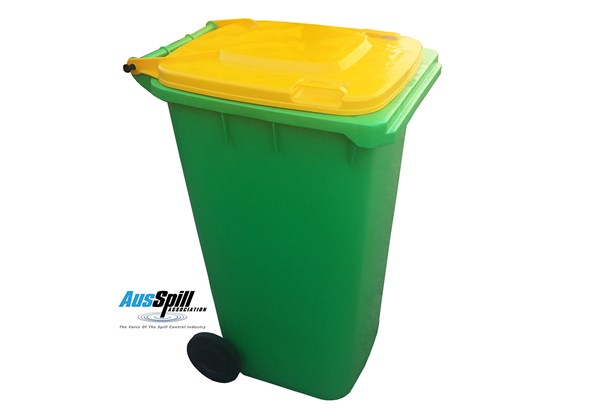 The standard shall require that all wheelie bin spill kits will have a lime green base, with individual bin applications being identified by new lid colours.