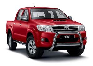4x4 dual cab work vehicles like the Toyota Hilux often carry heavy or uneven loads