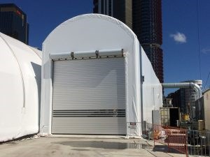 High speed door for dust control