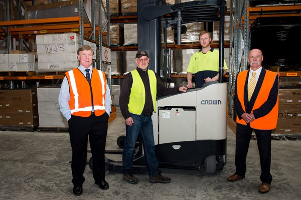 National Mailing and Marketing is running a Crown CG Series counterbalance forklift, three Crown RR Series reach trucks and Wave® Work Assist Vehicles to manage its material handling needs. (Pictured: left, General Manager Dennis Ogden)