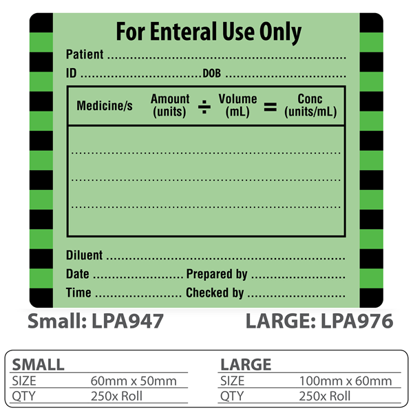"""Medical Identification Label """"For Enteral Use Only"""""""