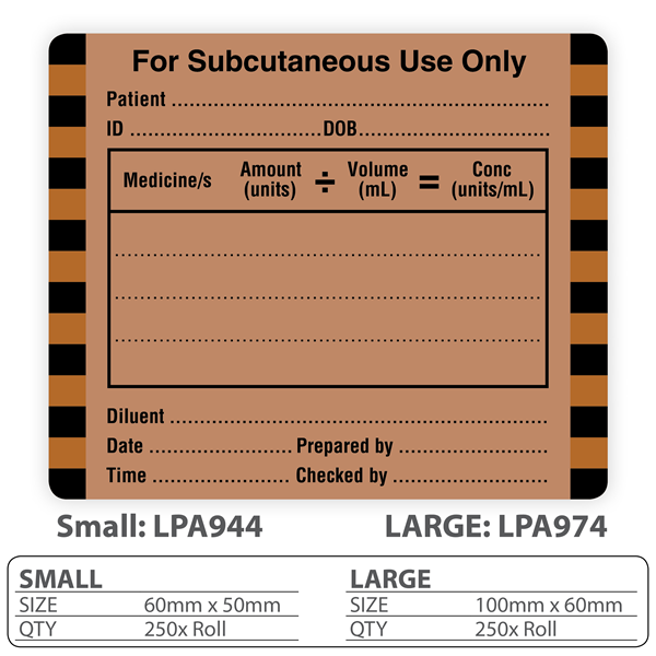 Medical Label Quot For Subcutaneous Use Only Quot