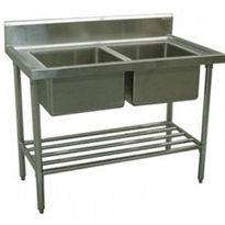 Stainless Steel Double Sink Bench | Alphaline XS2-60120C
