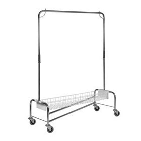 Z Frame Chrome Garment Rail with Basket | HOS-101-WHG16B