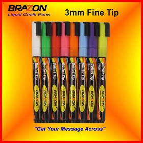 Liquid Chalk Markers with 3mm Bullet Tip | Brazon