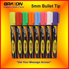 Liquid Chalk Markers with 5mm Bullet Tip | Brazon