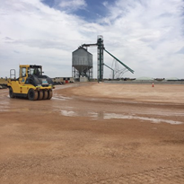 Road to grain silo improved with PolyCom road stabiliser treatment