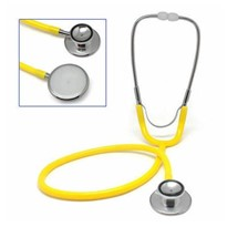 Yellow Stethoscope Dual Head with Flat Chest Piece, Latex Free