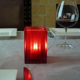 "Candle Lamp | Square ""Red Jewel"" Mini Block"