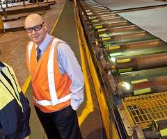 Michael Sampson (left) and David MacLaughlin at Bisalloy Steel.